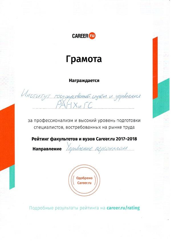 РАНХиГС вошла в рейтинг портала Career.ru