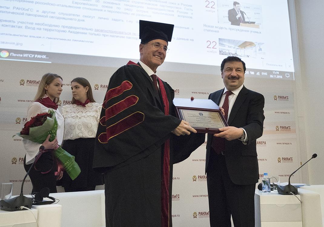 Франко Фраттини стал Почетным доктором РАНХиГС